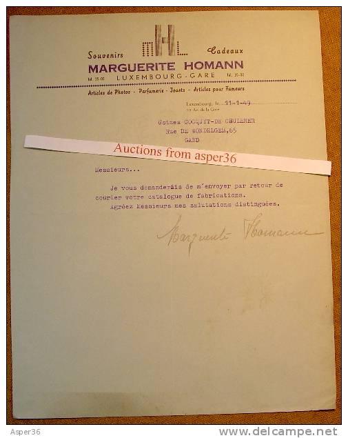 Souvenirs, Cadeaux, Marguerite Homann, Luxembourg-Gare 1949 - Luxembourg