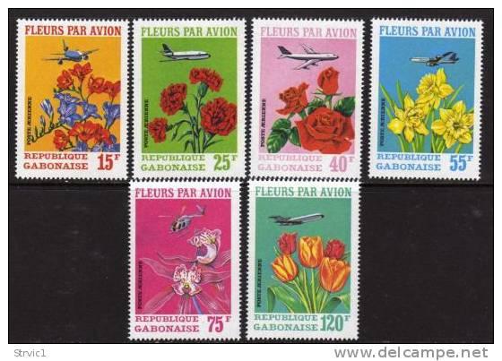 Gabon, Scott # C109-111 Set Plus C111a Perf & Imperf S/S, MNH Flowers, 1971 - Gabon