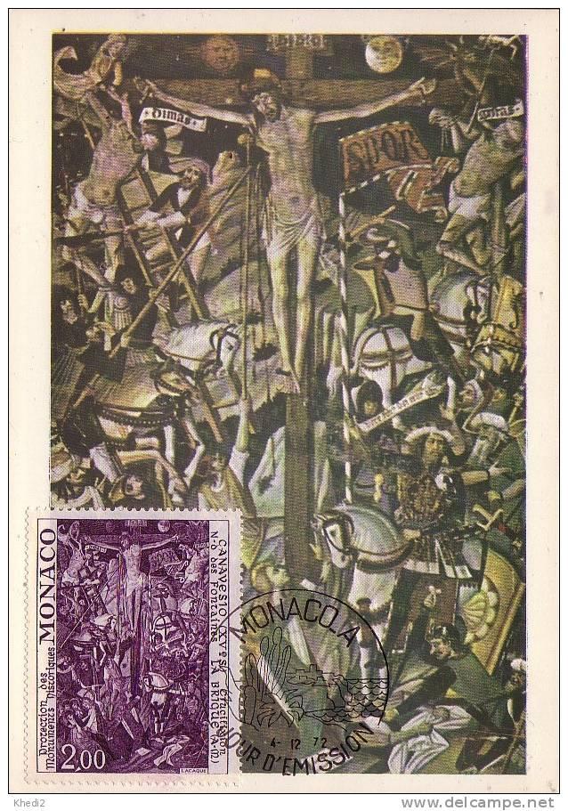 Carte Maximum CM Monaco Peinture - Crucifixion Christ - Eglise La Brigue - Painting Maxi Card - Kunst Maxikarte MK - Cartes-Maximum (CM)
