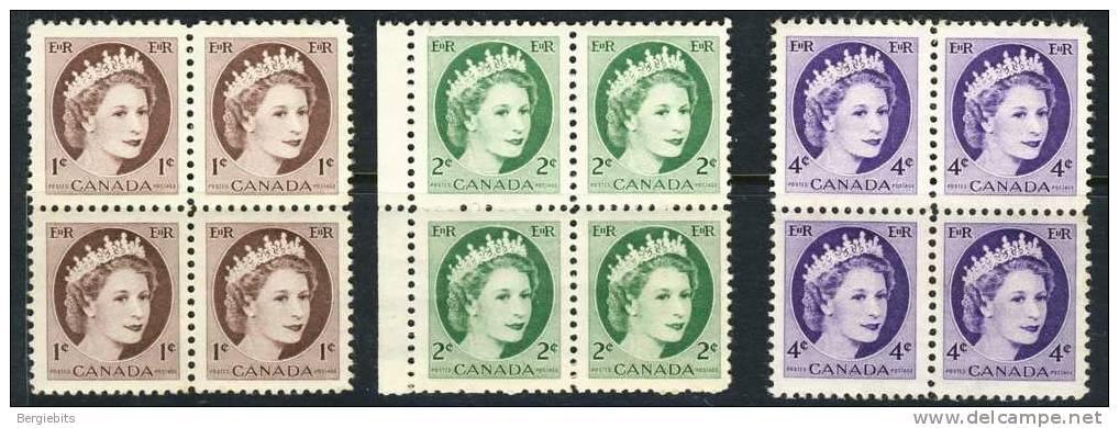 1954-62 Canada 3 Blocks Of 4 Queen Elizabeth Wildings All MNH - Blocks & Sheetlets