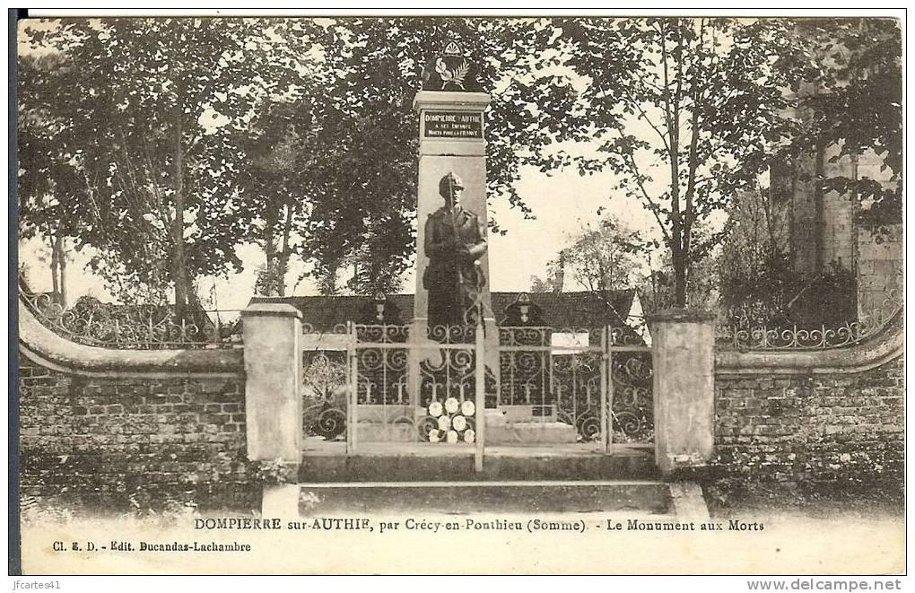 80 - DOMPIERRE SUR AUTHIE - Par Crécy En Ponthieu - Le Monument Aux Morts - France