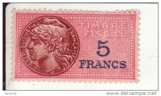 timbre fiscal fran ais de 5 francs neuf avec gomme. Black Bedroom Furniture Sets. Home Design Ideas