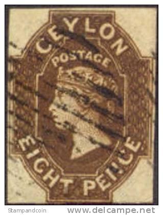 Ceylon #8 (SG #7) Used 8p Victoria From 1859 - Ceylon (...-1947)