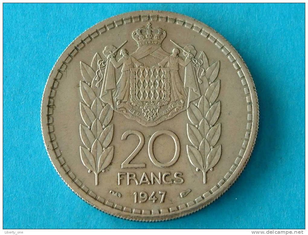 1947 - 20 FR. / KM 124 ( For Grade, Please See Photo ) ! - Monaco