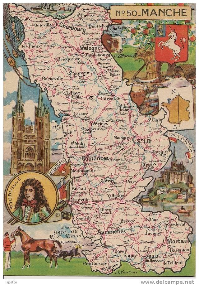 L120 - Carte Du Département - Manche N°50 - JP Pinchon - Blondel La Rougery Editeur - Maps