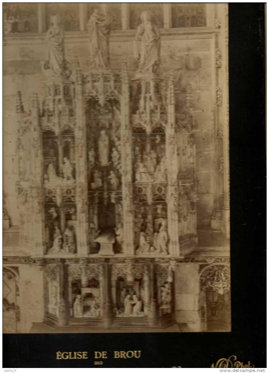 TRES GRANDE PHOTOGRAPHIE SUR CARTON - EGLISE DE BROU - 212 - RETABLE EN MARBRE DE LA CHAPELLE DE LA VIERGE - 1896 - N.D. - Fotos