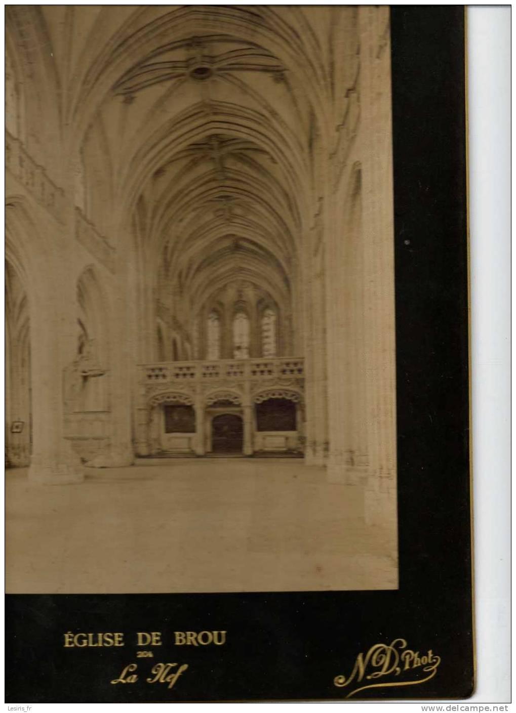 TRES GRANDE PHOTOGRAPHIE SUR CARTON - EGLISE DE BROU - 204 - LA NEF - 1896 - N.D.PHOT. 419 - Fotos