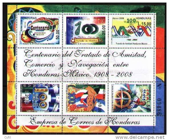 HONDURAS 2008 - CENTENARIO Del TRATADO De AMISTAD HONDURAS-MEXICO - MINIHOJITA - Honduras