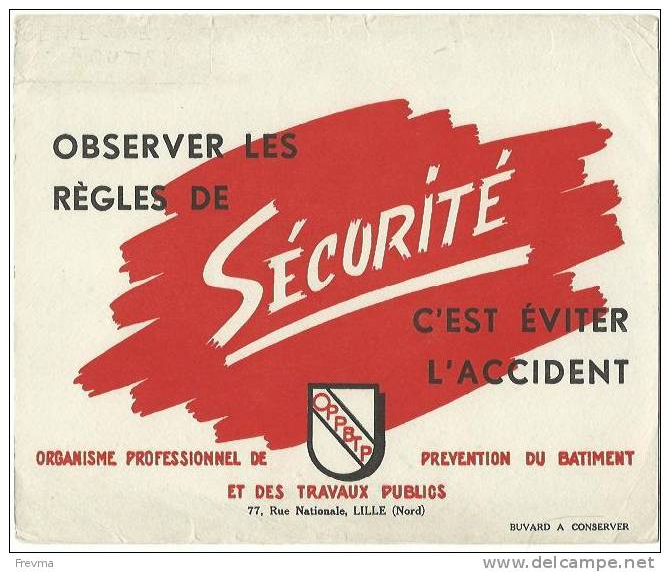 Buvard Securite Observer Les Regles BTP - Buvards, Protège-cahiers Illustrés