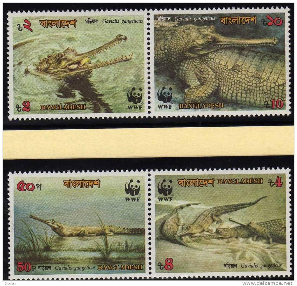 WWF-Set 90 Bangladesch 323/6 ** 9€ Ganges Gavial Krokodil Und Naturschutz Dokumentation - Bangladesch