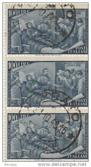 Italy-1948 Centenary Of Risorgimento 100 Lire Used Strip  Of 3 - 6. 1946-.. Republic