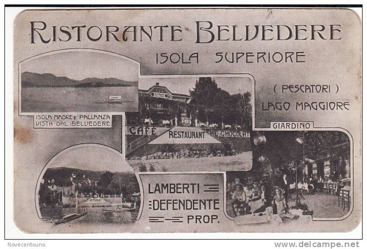 PIEMONTE - VERBANIA  - Lago Maggiore  - Isola Superiore- Ristorante Belvedere - Cartoncino Pubblicitario - PIEGHE - Verbania