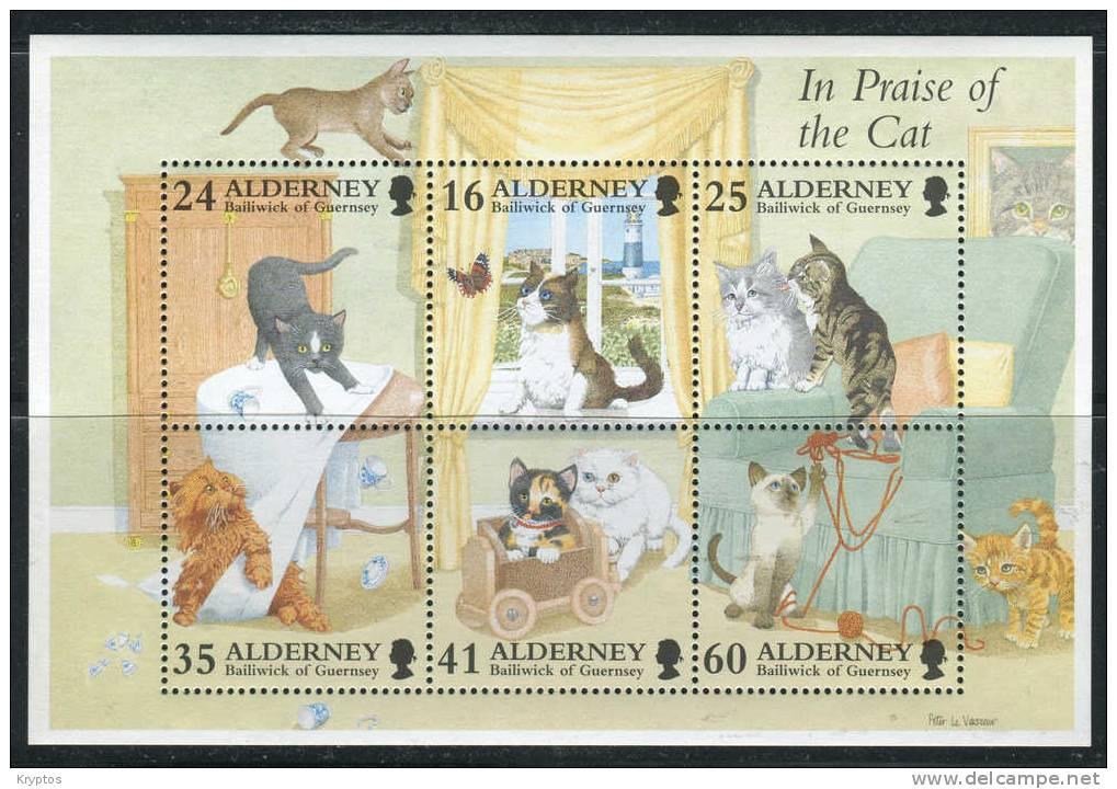 Alderney 1996 - Minisheet Cats - Alderney