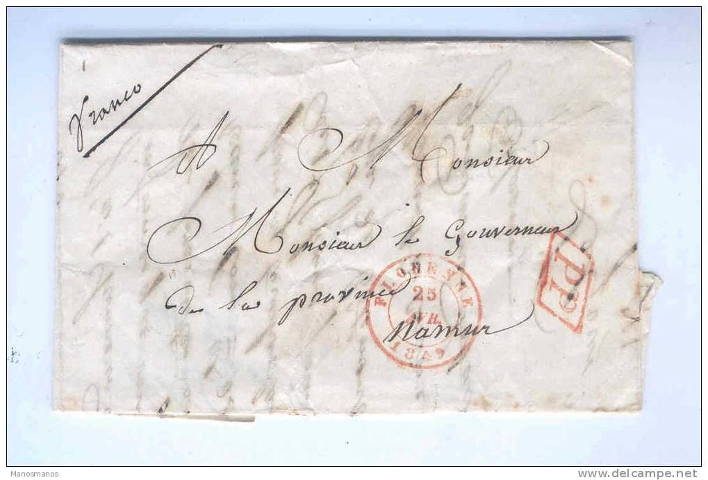 826/14 - Lettre Précurseur En PP FLORENNE 1849 Vers Le Gouverneur De La Province De NAMUR - 1830-1849 (Belgique Indépendante)
