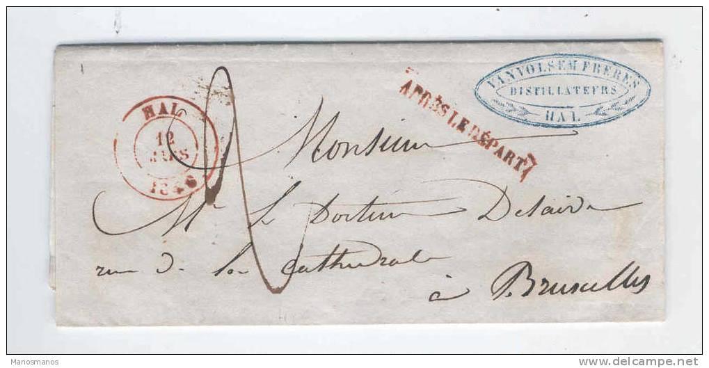 828/14 - Lettre Précurseur HAL 1846 Vers BXL - Cachet Privé Vanvolsem Frères , Distillateurs - 1830-1849 (Belgique Indépendante)