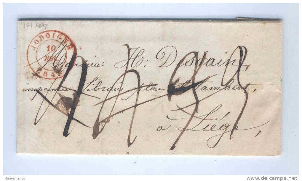 830/14 - Lettre Précurseur JODOIGNE 1846 Vers LIEGE - Taxation établie à 4 Reprises !!! - 1830-1849 (Belgique Indépendante)