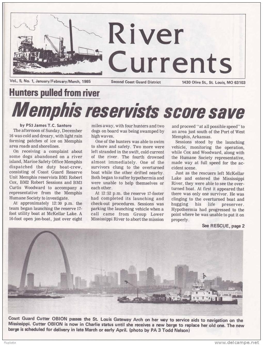 River Currents 01 January February March 1985 Vol. 5 Second Coast Guard District - Forces Armées Américaines