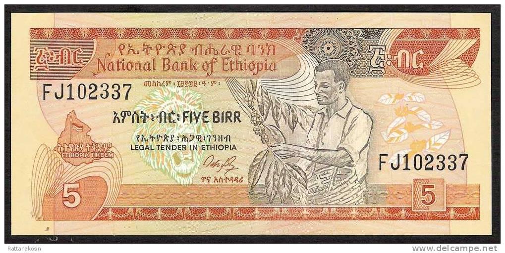 ETHIOPIA  P42a   5   BIRR    1991 Signature 3 Type B   UNC. - Ethiopie