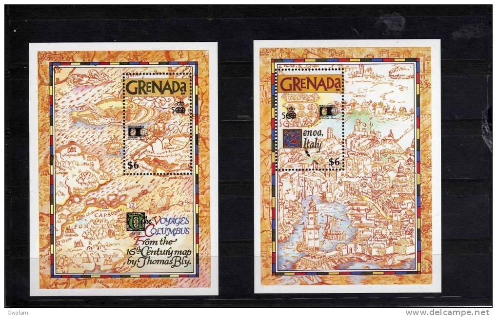 GRENADE (GRENADA) 2 Blocs Feuillets  - 1992  - 500 Ans Découverte Amérique Christophe Collomb - Grenada (1974-...)