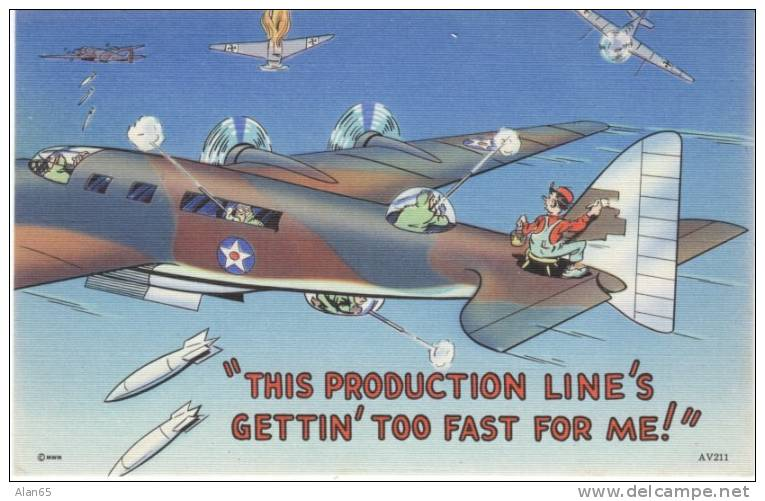 US Propaganda Humor On C1940s Vintage Linen Postcard, Bomber Fights With Man Still Painting - Humour