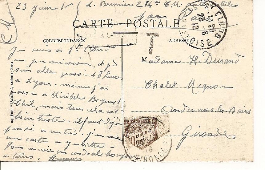 -92- Saint Cloud Le Parc Et Le Pavillon Bleu -  Timbrée Avec Demi Taxe TRES TRES RARE - - Covers & Documents