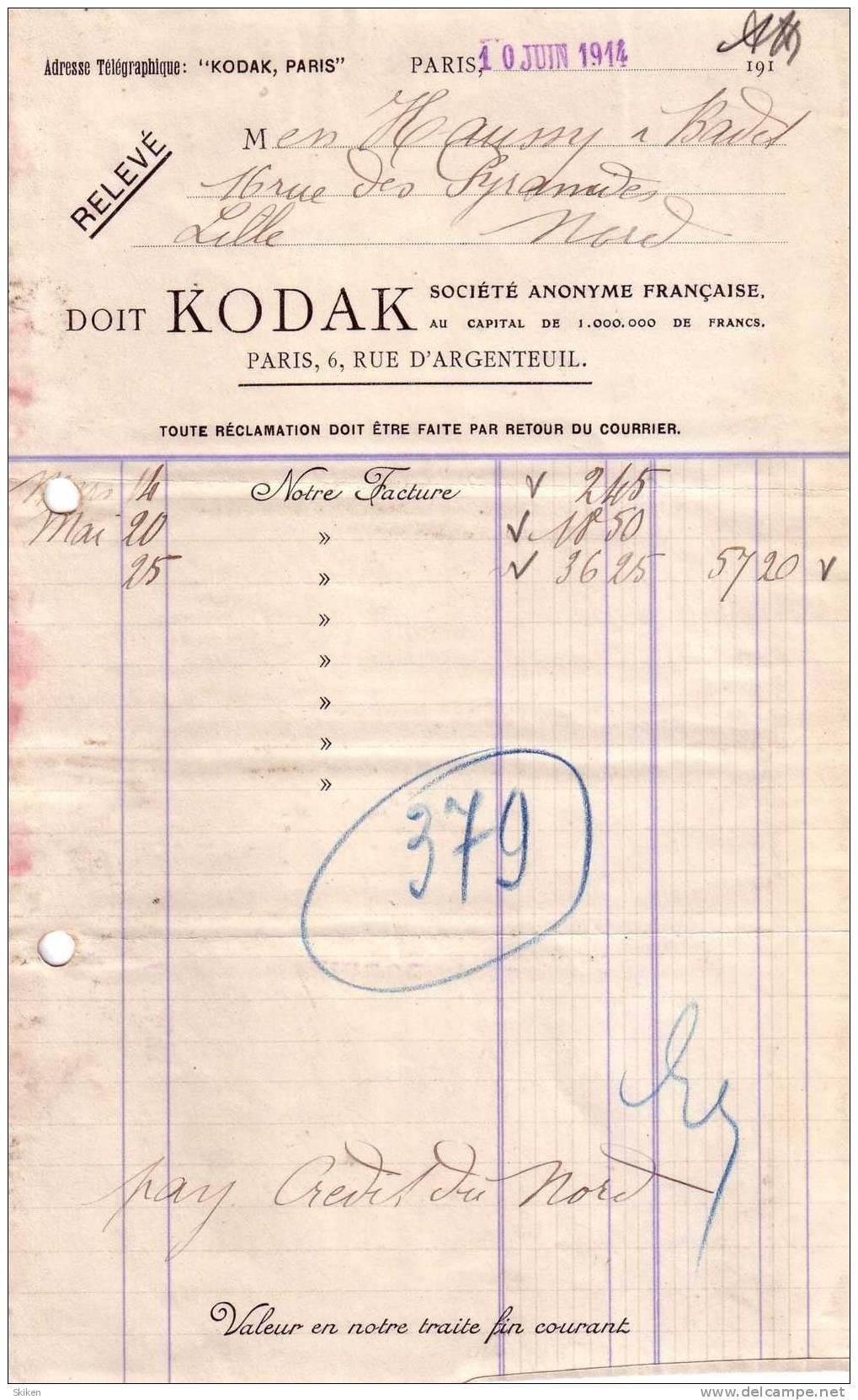 "PARIS   ""KODAK"" Societe Anonyme Francaise...10.06.1914 - 1900 – 1949"