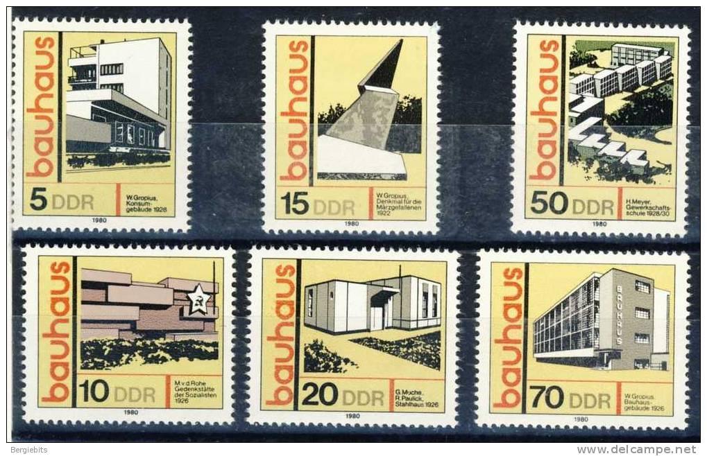 """1980 GDR   Complete MNH  Set Of 6 Stamps  """"  BAUHAUS  """" - [6] République Démocratique"""