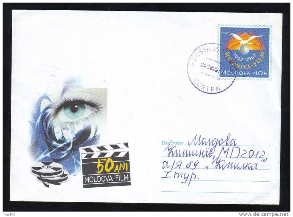 Moldova / Moldavie 50 Years Of Film,Cinema 2002,cover Stationery Entier Postaux ,sent To Mail,very Rare!! - Kino