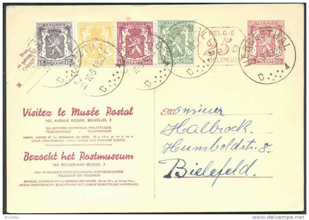 N°421-479-710-710A En Complément S/E.P. Carte Lion 65c. + Mécanique 25c. (repiqué Musée Postal) Obl. Sc HERBESTHAL Du 10 - Ganzsachen