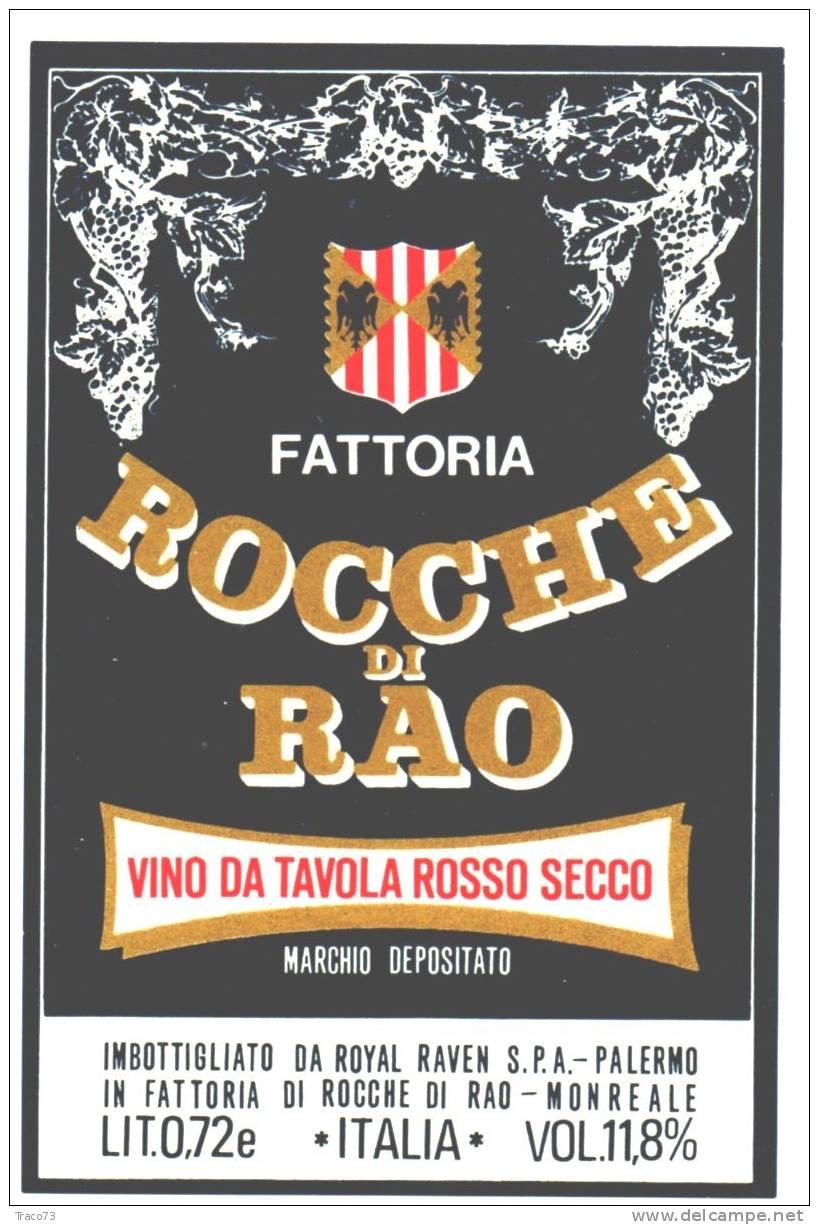 """Etichetta  Vino  """" ROCCHE DI RAO  Rosso Secco  - Fattoria Di Rocche  """" Monreale (PA) - Italia / Italy - Unclassified"""