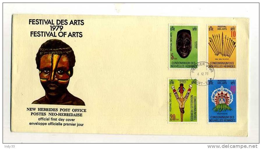- NOUVELLES-HEBRIDES . ENVELOPPE FDC 1er JOUR FESTIVAL DES ARTS 1979 . CACHET PORT-VILA 4/12/79 - FDC