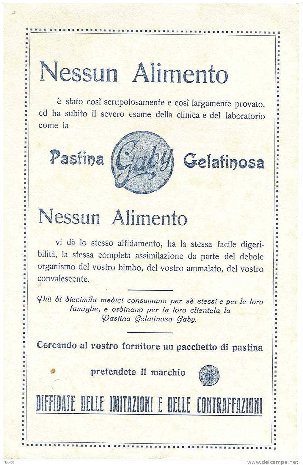GABY - PASTA GELATINOSA - FOGLIO  CARTA ASSORBENTE  PUBBLICITARIA  CM. 23 X 15 - Alimentare