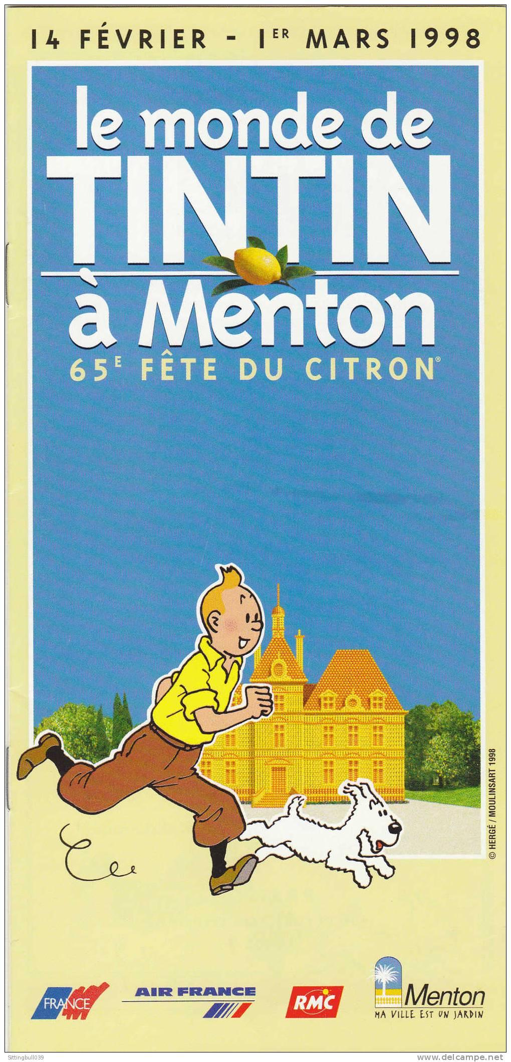 LE MONDE DE TINTIN A MENTON (06). Dépliant Pub Pour La 65e Fête Du Citron. Hergé / Moulinsart 1998 - Objets Publicitaires