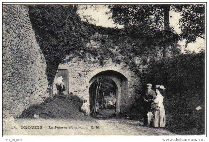 Carte Postale 77. Provins  La Poterne Faneiron Trés Beau Plan Animé Ombrelle - Provins