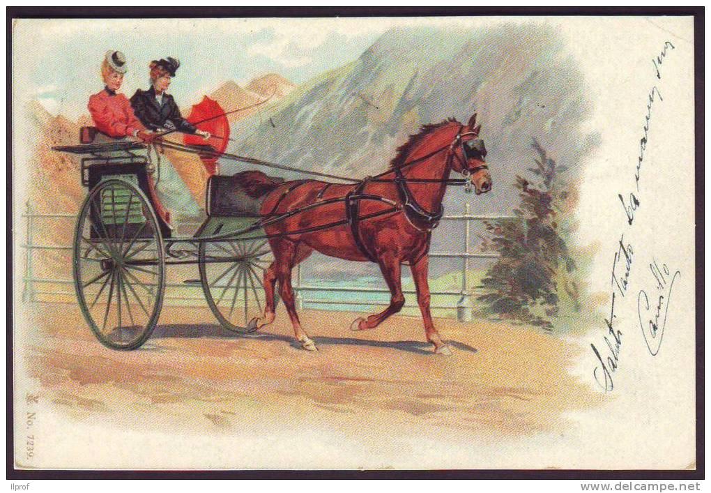 Carrozzella A Un Cavallo  Illustratore Sconosciuto (Ristampa) - Taxi & Carrozzelle