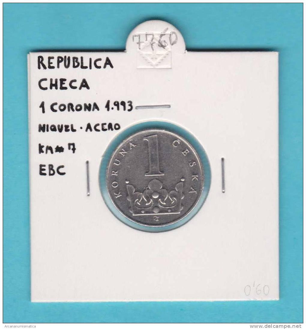 REPUBLICA  CHECA  1 CORONA   1.993    NIQUEL-ACERO    KM#7  EBC/XF     DL-7760 - República Checa