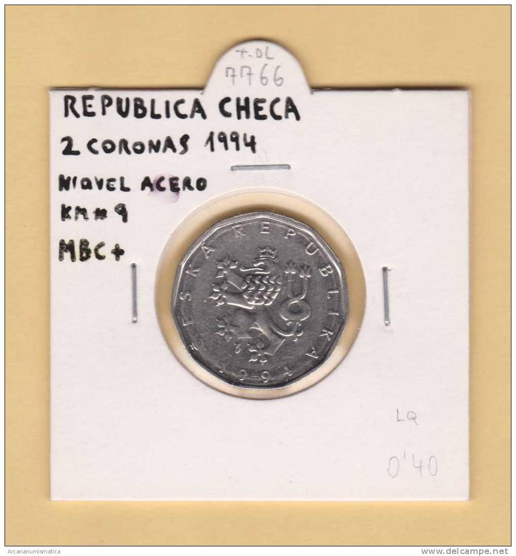 REPUBLICA  CHECA  2   CORONAS   1.994    NIQUEL-ACERO    KM#9  MBC+/VF+     DL-7766 - República Checa