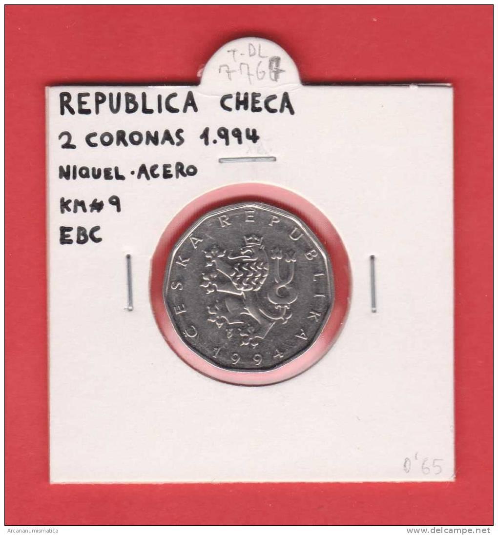 REPUBLICA  CHECA  2   CORONAS   1.994    NIQUEL-ACERO    KM#9  EBC/XF     DL-7767 - República Checa