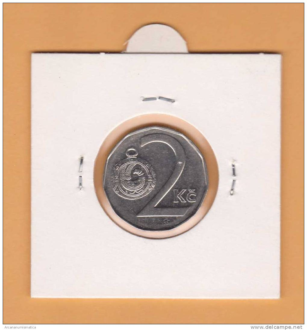 REPUBLICA  CHECA  2   CORONAS   1.995    NIQUEL-ACERO    KM#9  EBC/XF     DL-7768 - República Checa