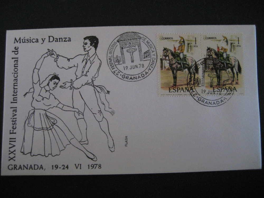 GRANADA 1978 XXVII Festival Int Musica Y Danza Music Dance Flamenco  Matasellos Especial Sobre Cover Lettre - 1931-Oggi: 2. Rep. - ... Juan Carlos I