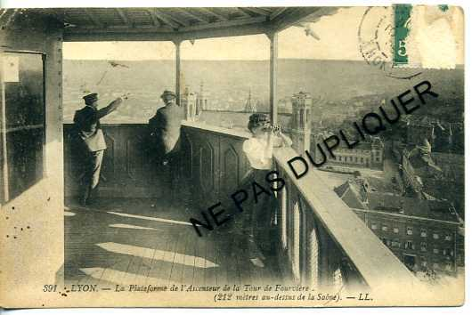 CP69187 - LYON - Plateforme De L'Ascenseur De La Tour De Fourvière - CPA Authentique Animée - Lyon 5