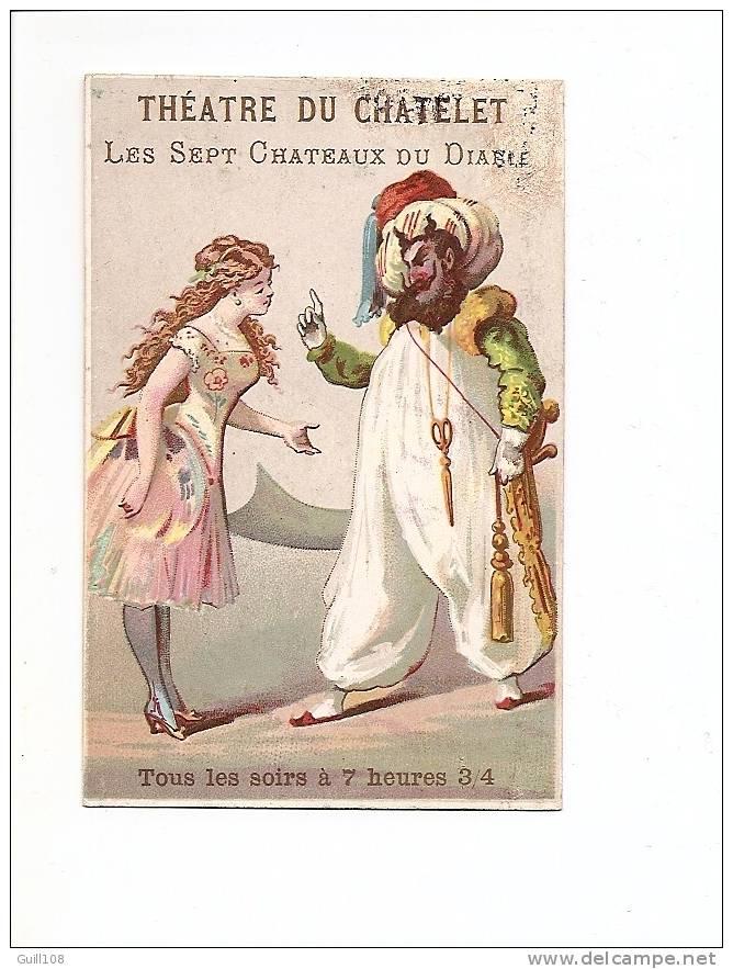 Chromo Théâtre Du Chatelet Paris Imp. H. Laas Sept Château Du Diable Sultan Ciseaux Sabre Ballet Ennery Clairville A7-3 - Chromos