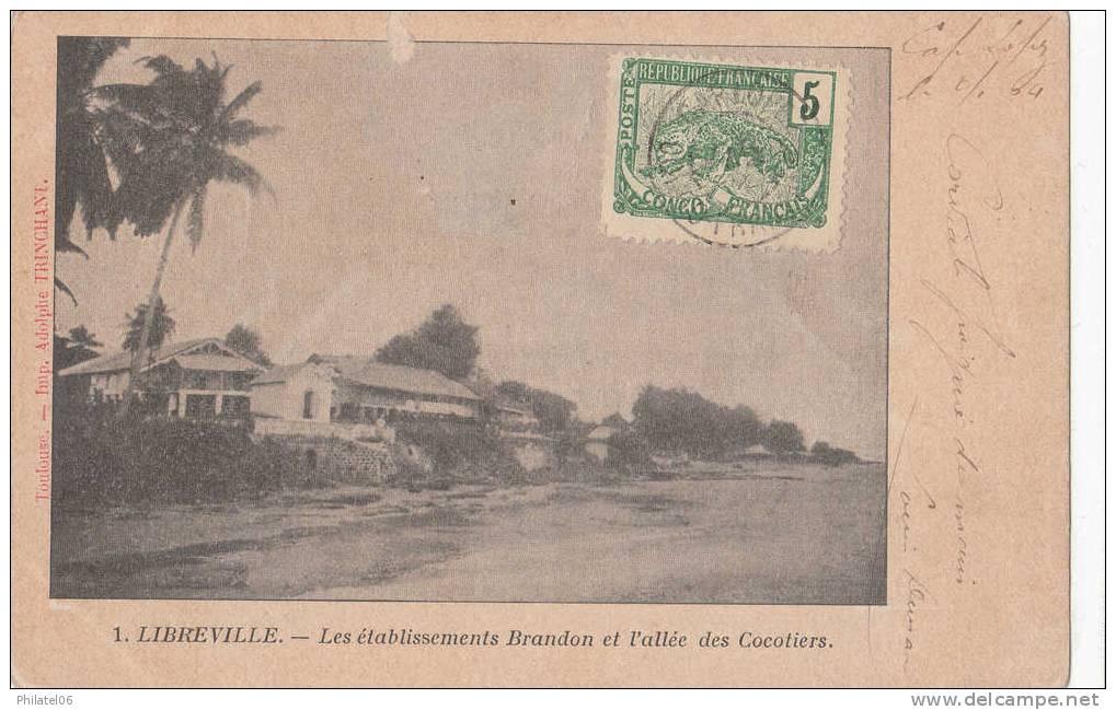 CARTE CACHET MARITIME LOANGO A MARSEILLE  CAD CAP-LOPEZ/CONGO FRANCAIS 1904 - Congo Français (1891-1960)