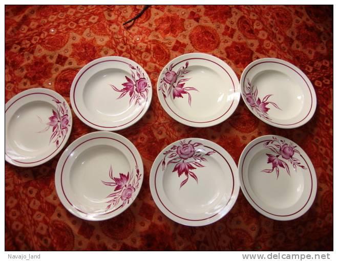 7 Assiettes Soupe D'Onnaing, Modéle ALBI Peintes Main - Onnaing (FRA)