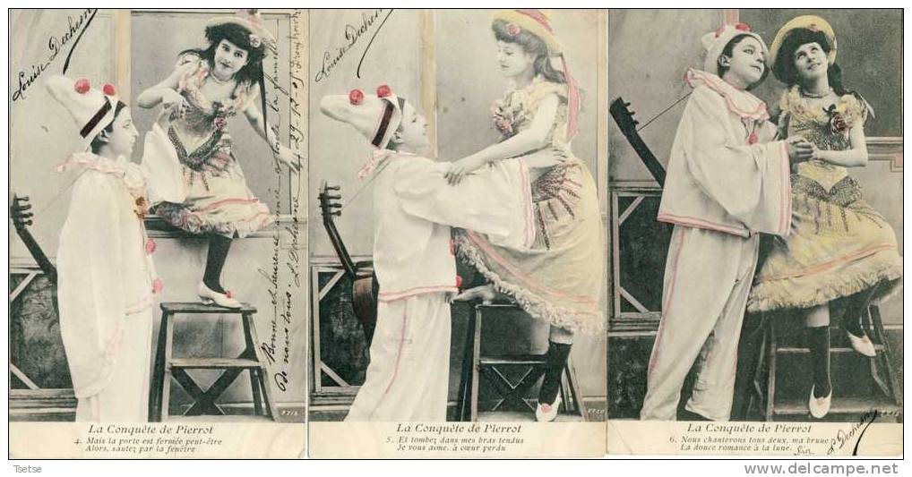 Jolie Série De 6 Cartes Sur Pierrot (Pedrolino) Et Sa Conquête -  Valet De La Commedia Dell'arte - Fantaisies