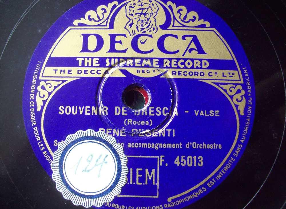 DISQUE GRAMOPHONE 78 TOURS / R 490 / RENE PESENTI _ LES TRILETS _ SOUVENIR DE DRESCIA - 78 Rpm - Schellackplatten