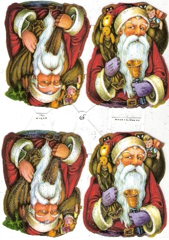 Planche  4 Pères Noël Avec Hotte, Dimension Planche 17x24 Cm - Kerstmotief