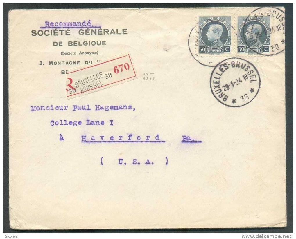 N°211(2)  (Montenez) Obl. Sc Agence BRUXELLES 38 * S/L. Recommandée Du 29-1-1924 Vers Haverford (USA).  - 5652 - Postmark Collection