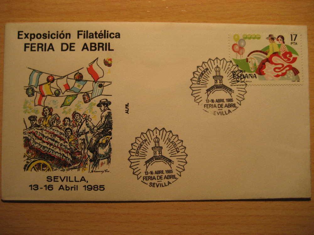 SEVILLA 1985 Exp Fil Feria De Abril Caballo Horse Musica Music Flamenco Matasellos Especial Sobre Cover Lettre - 1931-Oggi: 2. Rep. - ... Juan Carlos I
