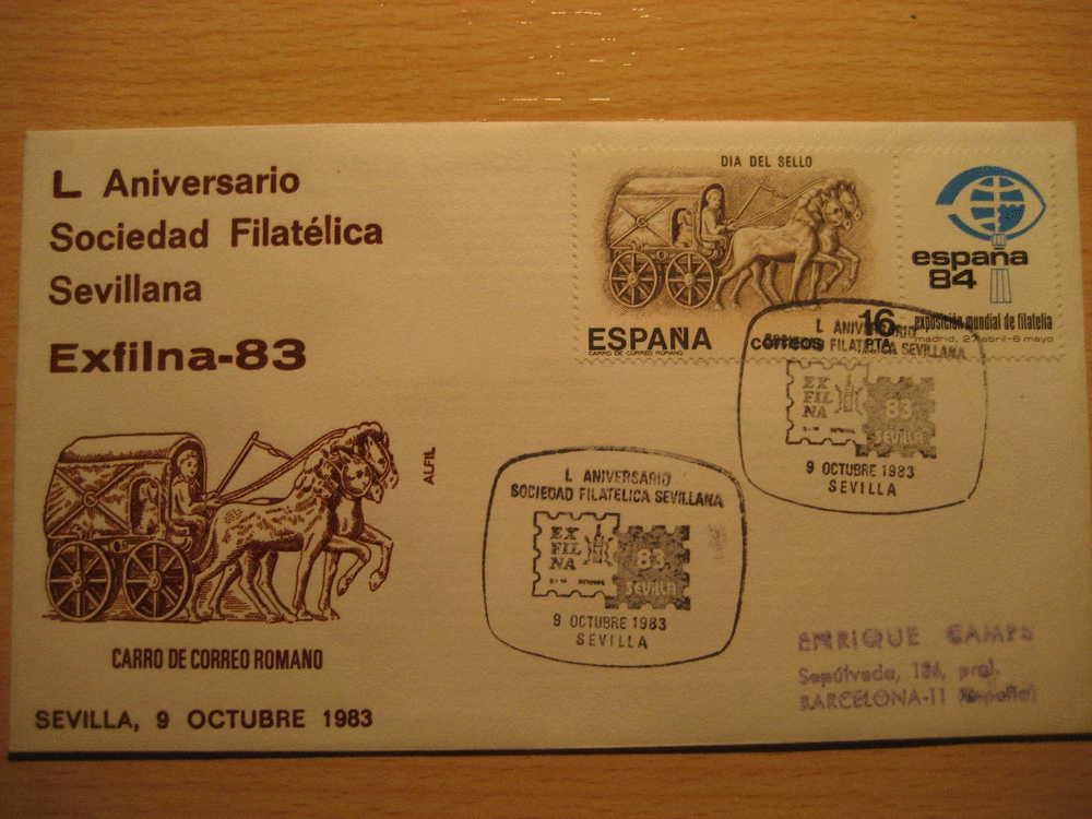 SEVILLA 1983 L Aniv Soc Fil Sevillana Exfilna 83 Caballo Horse Carro Correo Romano Matasello Especial Sobre Cover Lettre - 1931-Oggi: 2. Rep. - ... Juan Carlos I